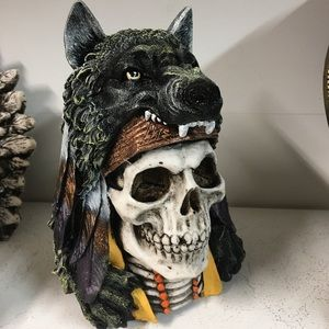 Aztec Wolf Warrior with Skull